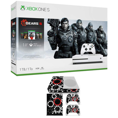 Microsoft Xbox One S Gears Of War 5 with Controller + Vinyl Skin Sticker
