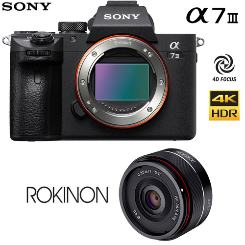 Sony Alpha a7 III Mirrorless Digital Camera Body + Rokinon 35mm Lens