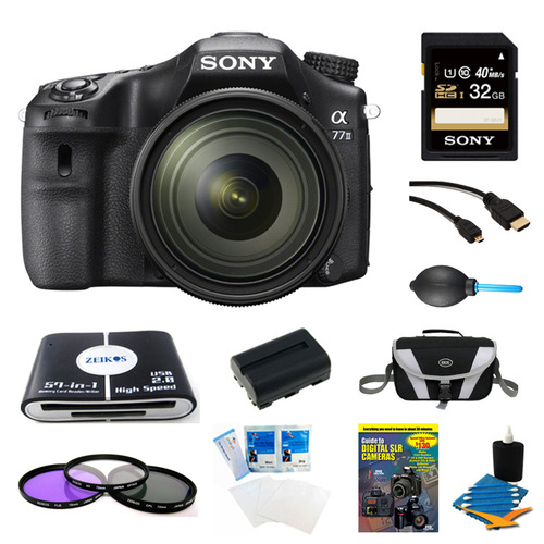 Sony a77II HD DSLR Camera with 16-50mm Lens, 32GB Card, and Battery Bundle