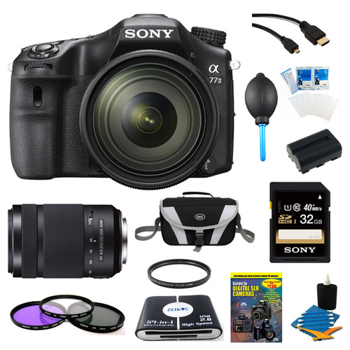 Sony a77II HD DSLR Camera with 16-50mm Lens, 32GB Card, and 55-300mm Lens Bundle