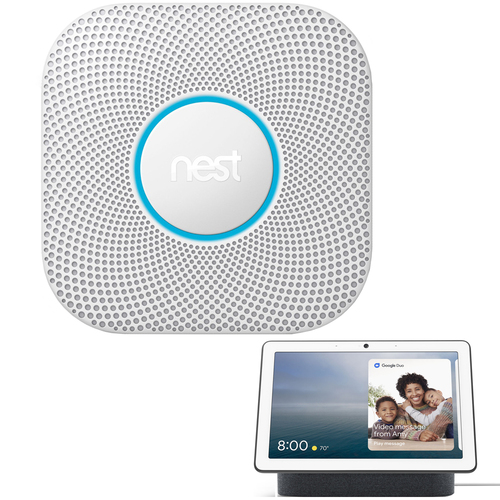 Google Nest Protect 2nd Gen Smoke Alarm (S3000BWES) with Google Nest Hub Max - Charcoal