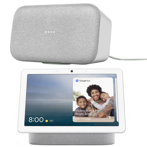 Google Home Max Wireless Multi Room Speaker with Google Assistant (Chalk) + Google Nest Hub Max
