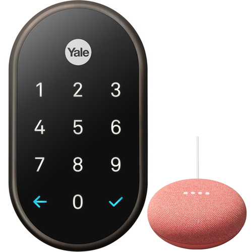 Nest x Yale Lock with Nest Connect Oil Rubbed Bronze & Google Nest Mini 2nd Gen