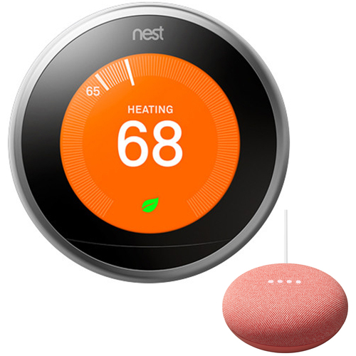 Google Nest Learning Thermostat 3rd Gen, Stainless Steel Bundle w/ Mini Smart Speaker Coral
