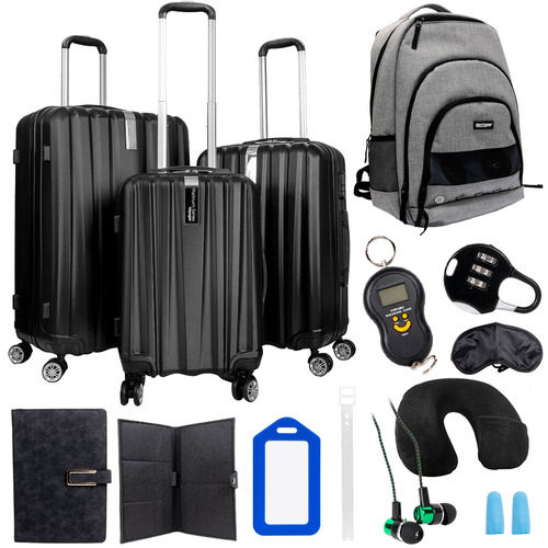 Deco Gear Travel Elite Series - 3pc Luggage Set with Speaker Backpack & 10pc Accessory Kit