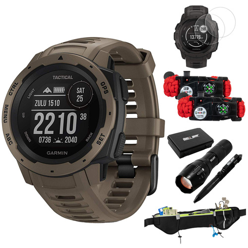 Garmin Instinct Tactical Outdoor GPS Smart Watch(010-02064-71) w/ Accessories Bundle