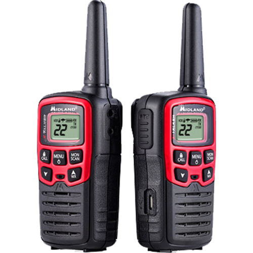 Midland T31VP 22 Channel/26 Mile Two Way Radio with 38 CTCSS, W/X Alert, Battery & USB