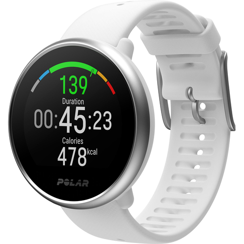 Polar Ignite GPS Fitness Watch with Heart Rate Monitor - 90071067 (M/L, White/Silver)
