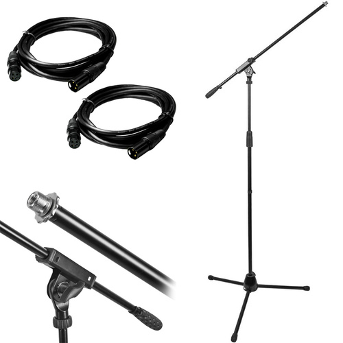 Professional Microphone Stand with Boom and (2) Deco Gear 10ft XLR Cables Bundle