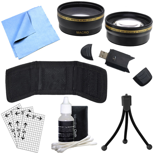 General Brand 40.5mm Wide Angle & Telephoto Lens, Cleaning Kit, Memory Card Wallet and More