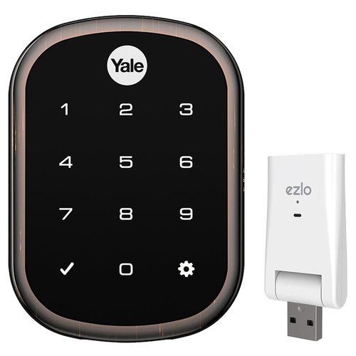 Yale Locks YRD256 Assure Lock SL with Z-Wave in Bronze + Ezlo Atom Home Control Hub