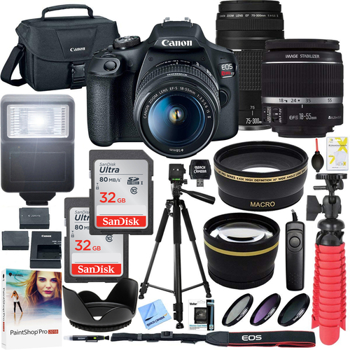 Canon EOS Rebel T7 DSLR Camera w/ 18-55mm IS II + 75-300mm III Double Zoom Deluxe Kit