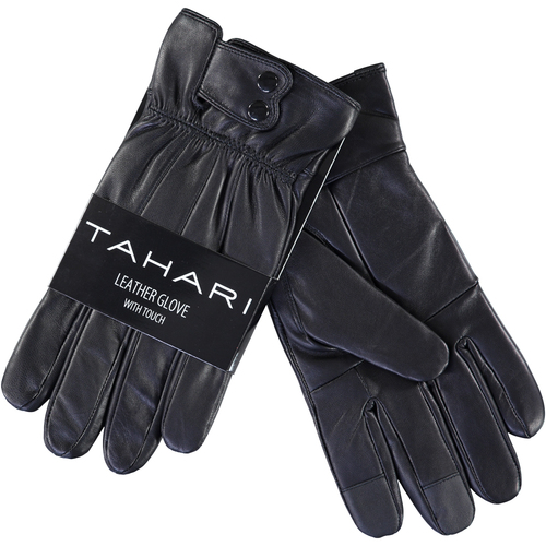 Insulated Snap Lambskin Leather Gloves with Screen-Touch Technology (Black)(XL)