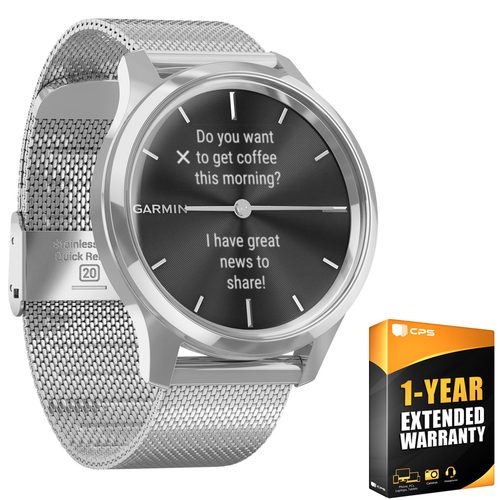 Garmin Vivomove Luxe Smartwatch Silver w Silver Band + 1 Year Extended Warranty
