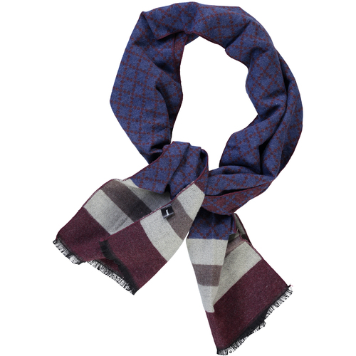 Tahari Super Soft Cashmere Feel Reversible Winter Scarf - (Burgundy Lattice)