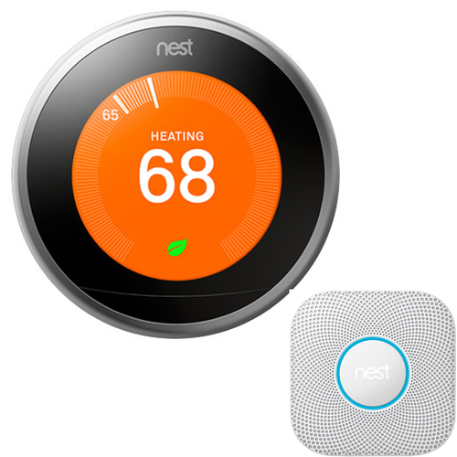 Google Nest Nest Protect Battery-Powered Smoke and Carbon Monoxide Ala + Learning Thermostat