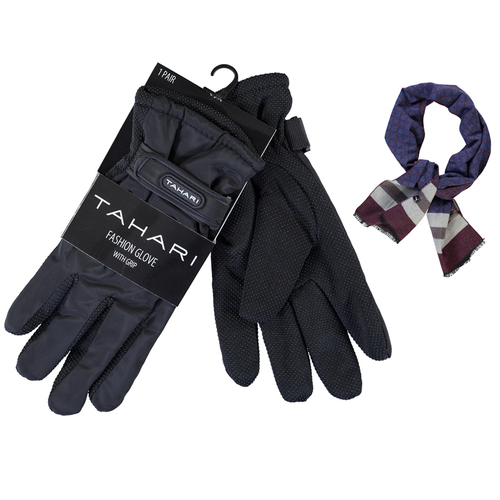 Tahari Premium Weather Proof Deluxe Grip Driving Glove Black + Scarf Burgundy