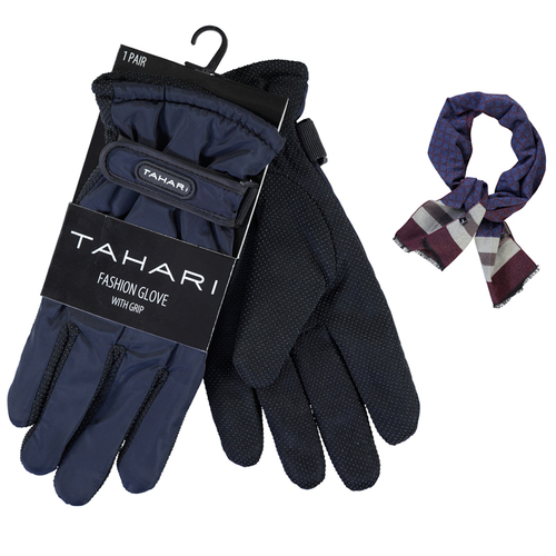 Tahari Premium Weather Proof Deluxe Grip Driving Glove Navy + Scarf Burgundy