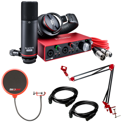 Focusrite Scarlett 2i2 Studio USB Audio Interface (3rd Gen) w/ Deco Gear Recording Bundle