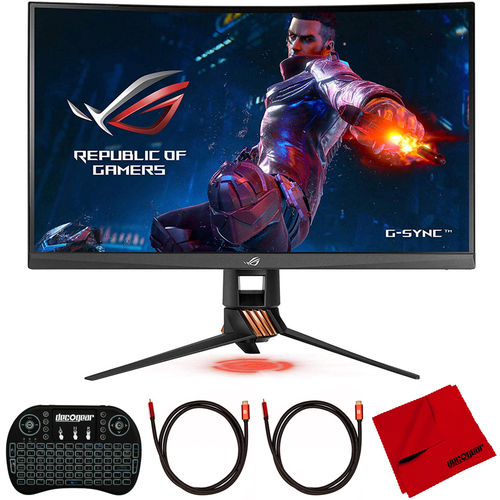 ASUS ROG Swift 27` 165Hz HDMI Curved Monitor with Deco Gear Accessories Bundle