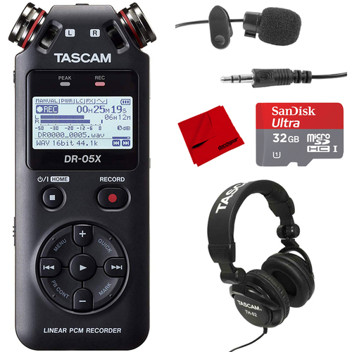 Tascam DR-05X Stereo Handheld Digital Audio Recorder w/ Accessories Bundle