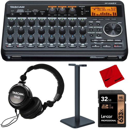 Tascam Compact Portastudio 8 Track Digital Recorder with TH-02-B Headphones Pro Bundle