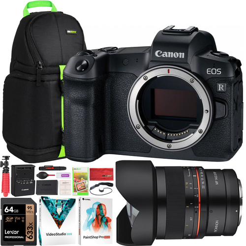 Canon EOS R Mirrorless Digital Camera with Rokinon 14mm F2.8 Full Frame Lens Bundle