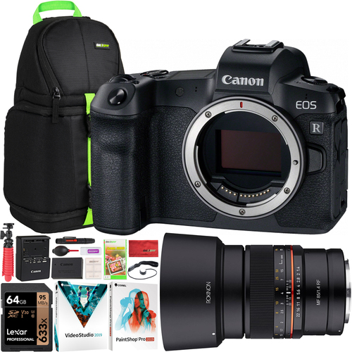 Canon EOS R Mirrorless Digital Camera with Rokinon 85mm F1.4 Full Frame Lens Bundle