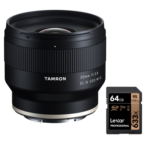 Tamron 20mm F2.8 Di III OSD M1:2 Lens for Sony Cameras + 64GB Memory Card