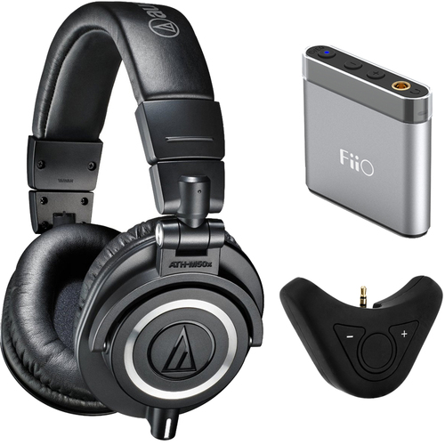 Audio-Technica ATH-M50X Professional Studio Headphones w/ FiiO A1 Portable Amplifier + More Kit