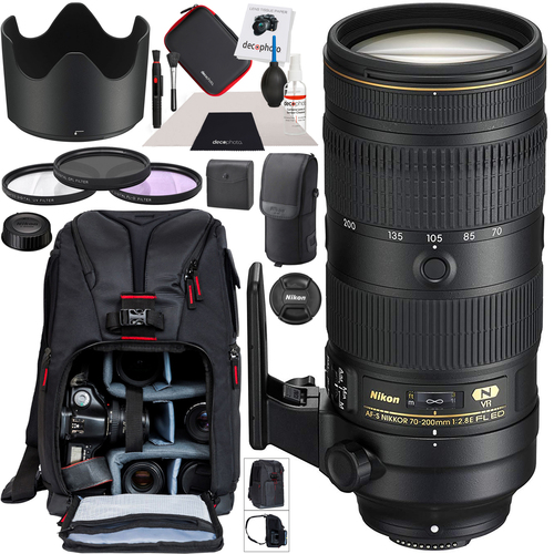 Nikon AF-S NIKKOR 70-200mm f/2.8E FL ED VR Telephoto Zoom Lens 20063 F-Mount Bundle