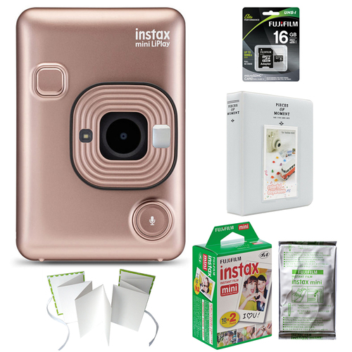 Fujifilm Instax Mini LiPlay(Blush Gold)(600021181) w/ 2x Mini Film, 2x Photo Album & More