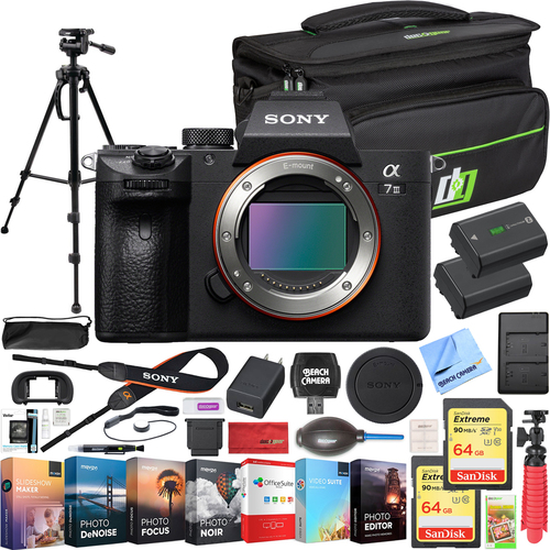Sony a7 III Alpha Mirrorless 4K Camera + Deco Gear Case & Extra Battery Kit Bundle