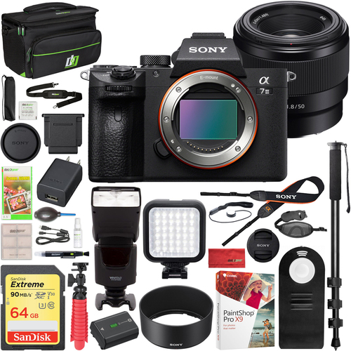 Sony a7 III Mirrorless Camera + 50mm F1.8 Prime Lens + Deco Gear Case & Flash Bundle