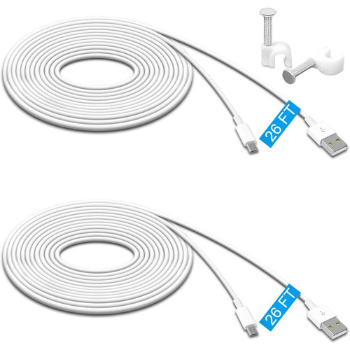 2 Pack 26FT Power Extension Cable plus 16 cable hooks