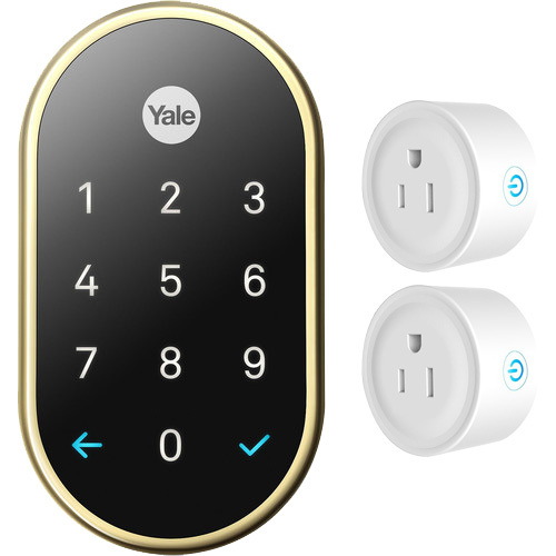 Nest x Yale Lock with Nest Connect (Brass) with Deco Gear WiFi Smart Plug (2-Pack)