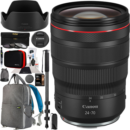 Canon RF 24-70mm F2.8L IS USM Lens for EOS R & RP Mirrorless Camera Pro Bundle