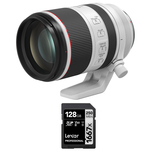 Canon RF 70-200mm F2.8 L IS USM Telephoto Zoom Lens + Lexar 128GB Memory Card