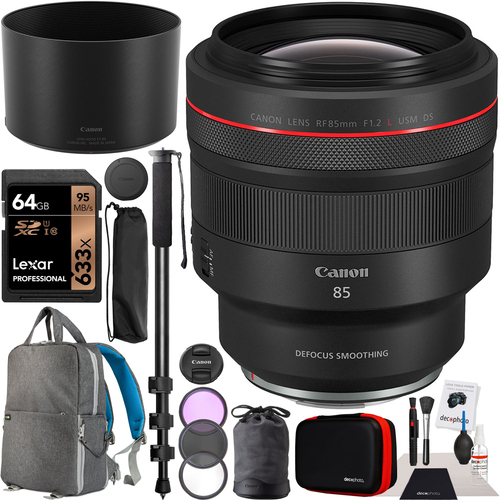 Canon RF 85mm F1.2 L USM DS Lens for EOS R Mirrorless Camera Bundle Pro Backpack Kit