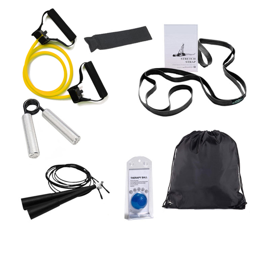 7-Piece Fitness Kit with Resistance Training, Stretching Tools, Grip Enhancers