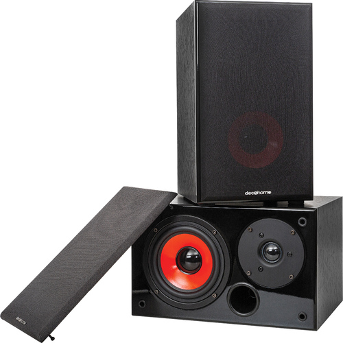 Deco Home DHPAS100 Passive 140W Bookshelf Speakers, 5in. Woofer with Dome Tweeter, Black
