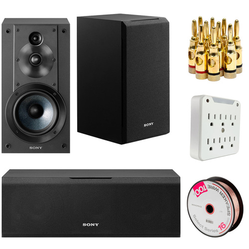 Sony SS-CS8 Center Channel Speaker and SS-CS5 Bookshelf Speakers with Wire Bundle