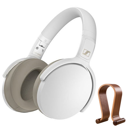 Sennheiser HD 350BT Bluetooth Around Ear Headphones White + Wood Headphone Stand