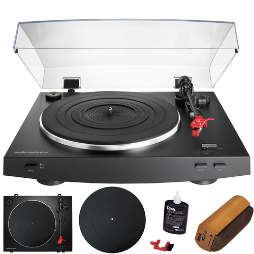 AT-LP3BK Fully Automatic Belt-Drive Stereo Turntable (Black) Cleaning Bundle