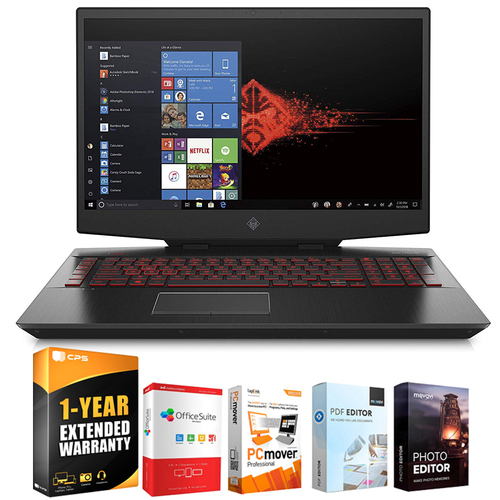 Hewlett Packard Omen 17` Gaming Laptop, Intel Core i7-9750H GTX 1660 Ti + Extended Warranty Pack