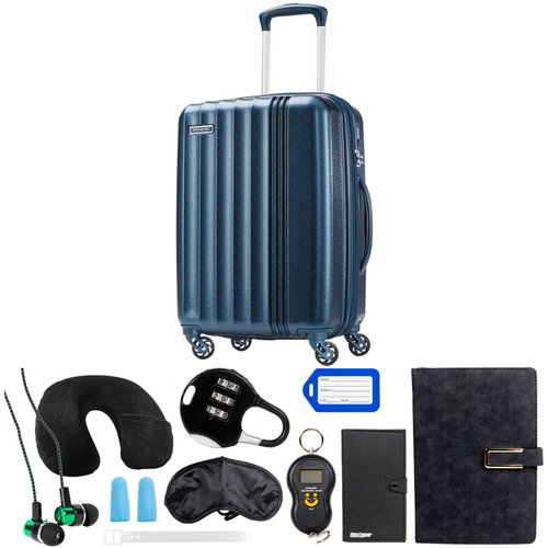 Samsonite 20` Hardside Luggage Spinner Cerene Blue w/ Deco Gear 10pc Accessory Kit