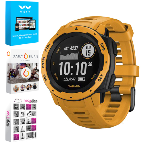 Garmin Instinct Rugged Outdoor Watch with GPS Sunburst + Fitness & Wellness Suite