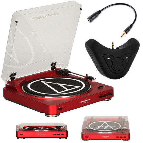 Audio-Technica AT-LP60RD Stereo Turntable System (Red) with Deco Gear Bluetooth Adapter Bundle
