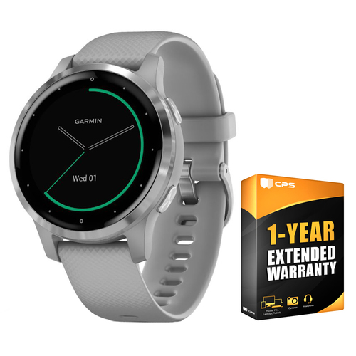 Garmin Vivoactive 4S Smartwatch Powder Gray/Stainless + 1 Year Extended Warranty