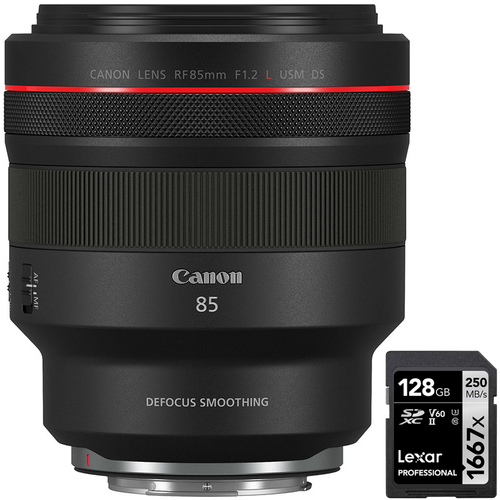 Canon RF 85mm F1.2 L USM DS Full-Frame Lens with Lexar 128GB Memory Card